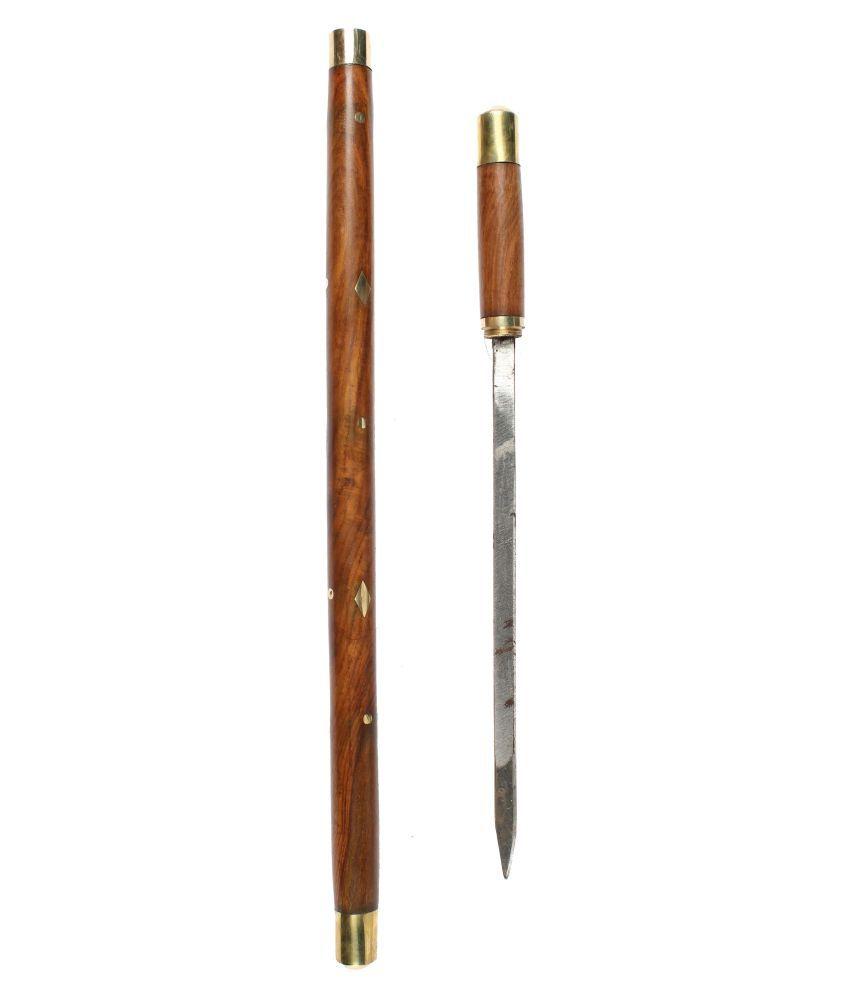 varda Handcrafted Brown 21 Inches Rule Wood Walking Sticks