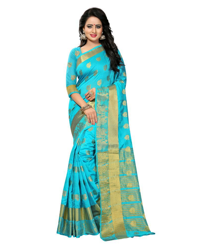 KAD Creations Blue Banarasi Silk Saree