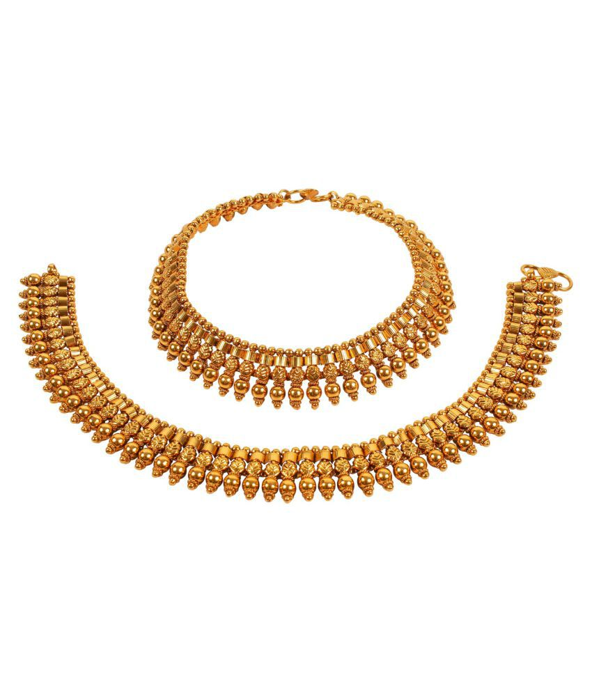 MUCH MORE Brass Made South Indian Design Made Polki Payal for Womens & Girls Jewelry