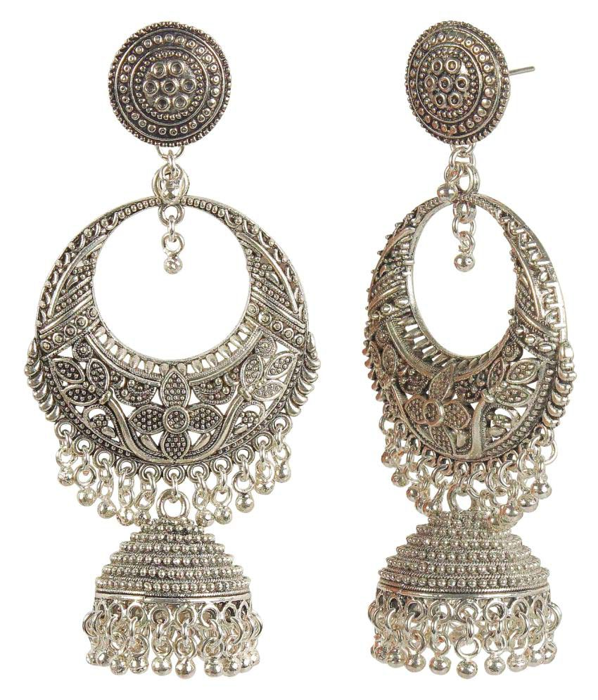 MUCH MORE Sterling Silver Plated Polki Earrings for Womens & Girls Jewelry