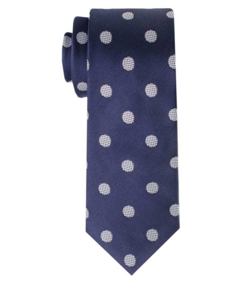 The Tie Hub Blue Polka Dots Silk Necktie