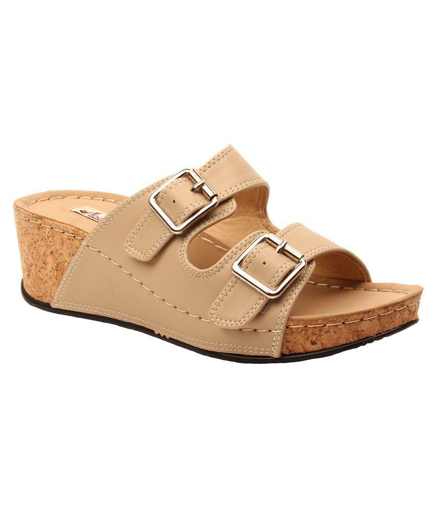 Foot Candy Beige Wedges Heels
