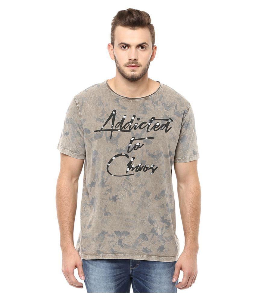 Spykar Beige Round T-Shirt