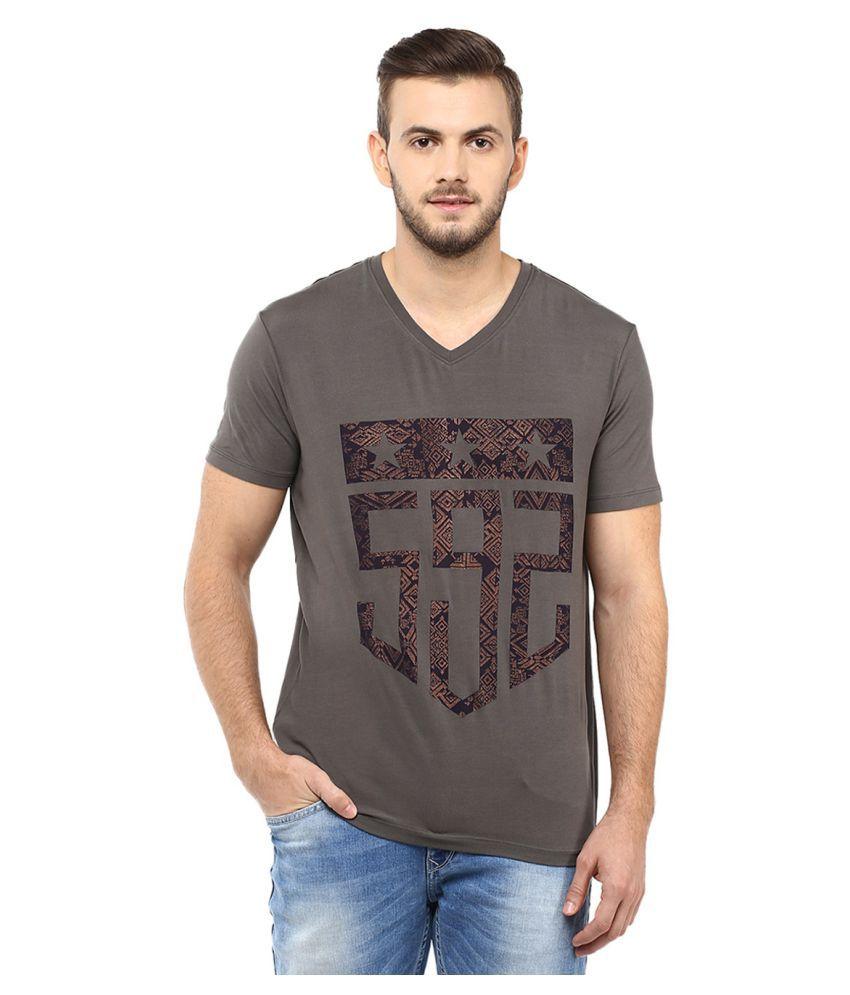 Spykar Grey V-Neck T-Shirt