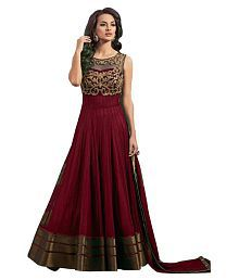 Omsai Fashion Brown Net Anarkali Semi-Stitched Suit