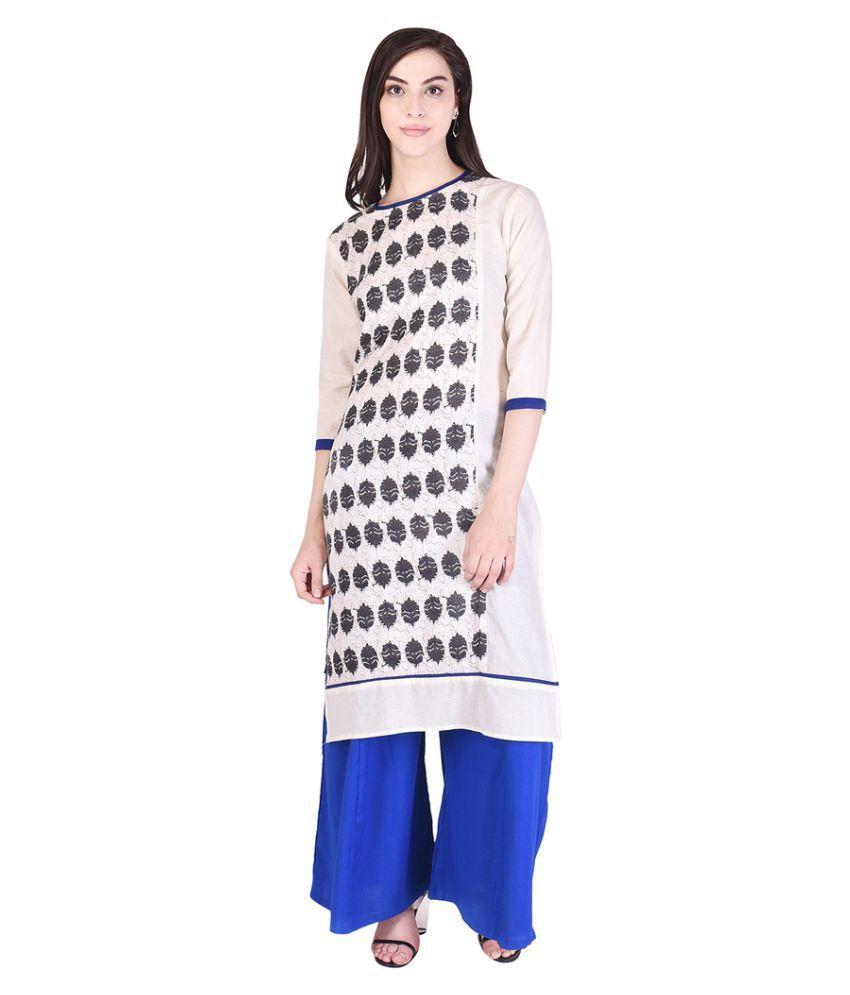 Kanika Fashion Off White Rayon Straight Stitched Suit