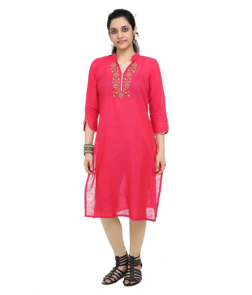 FLAVIDO Pink Cotton Straight Kurti