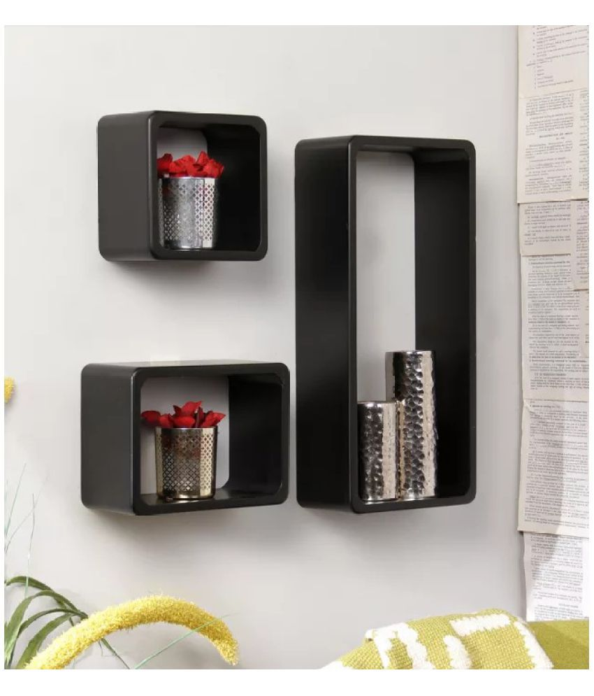 Onlineshoppee Floating Shelf/ Wall Shelf / Storage Shelf/ Decoration Shelf Black - Pack of 3