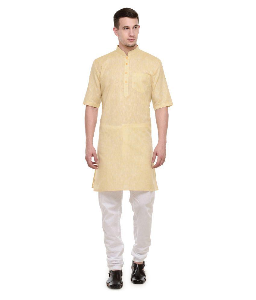 RG Designers Yellow Cotton Kurta Pyjama Set Pack of 1