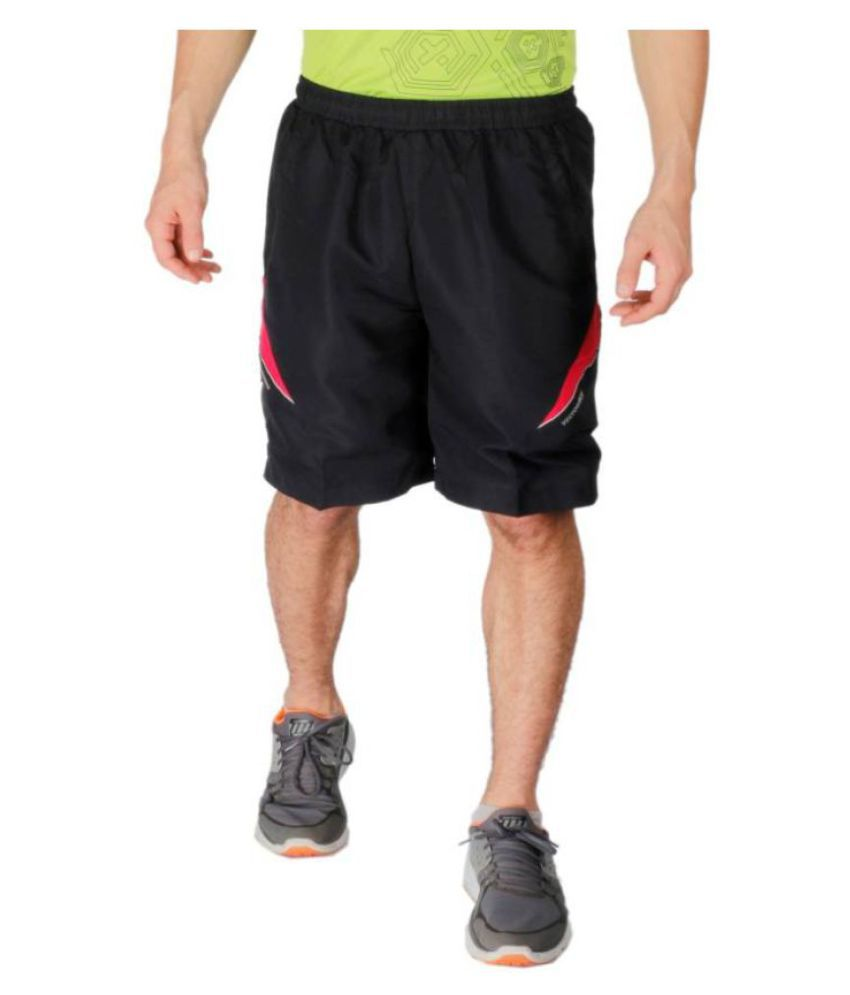 Vector X Black Polyester Fitness Shorts