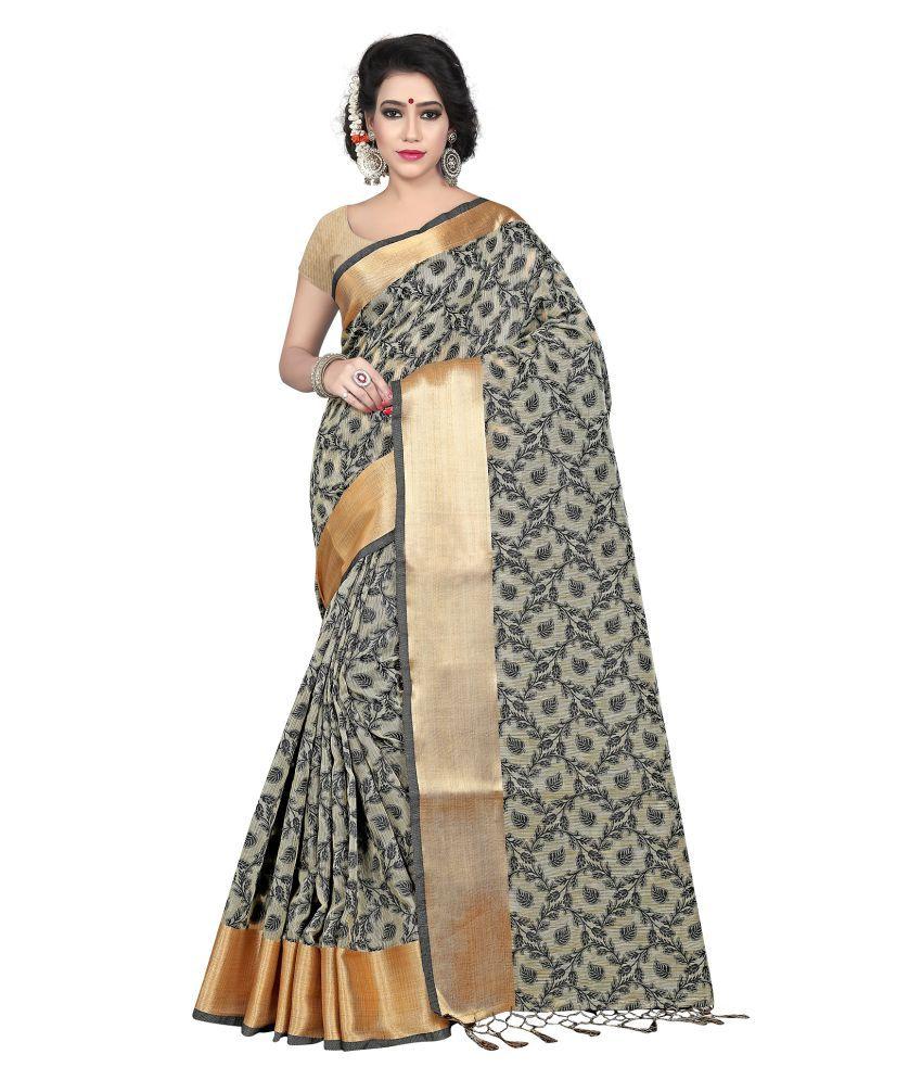 SILK ZONE Grey Banarasi Silk Saree
