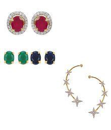 Zeneme Precious Combo of Interchangable Earrings & Ear cuff Jewellery For Women / Girls