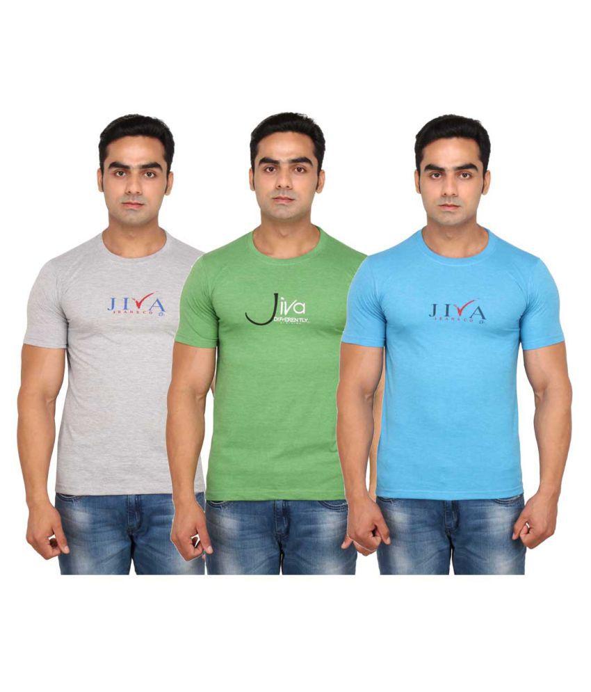 JIVA Multi Round T-Shirt Pack of 3