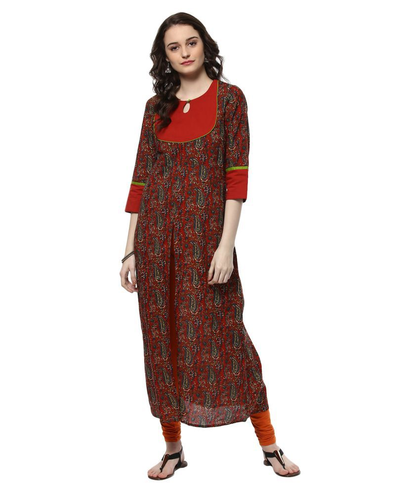 6e4d6ca67 Jaipur Kurti Rust Cotton Front Slit Kurti - Buy Jaipur Kurti Rust Cotton  Front Slit Kurti Online at Best Prices in India on Snapdeal