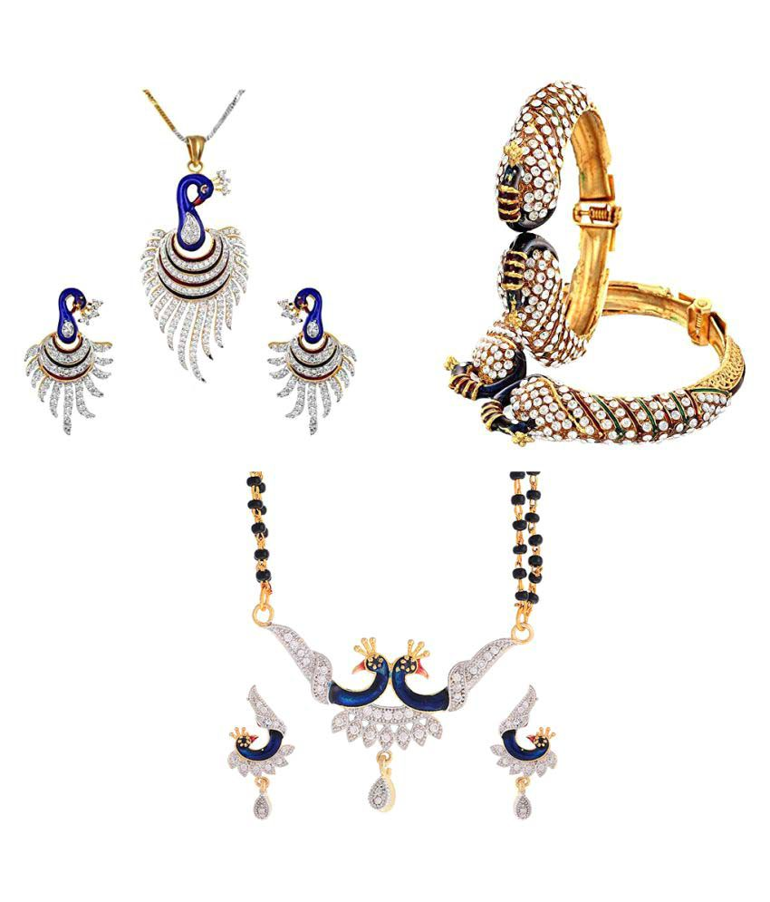 Zeneme Compelling Combo of Peacock Design Bracelet;Pendant and Mangalsutra set