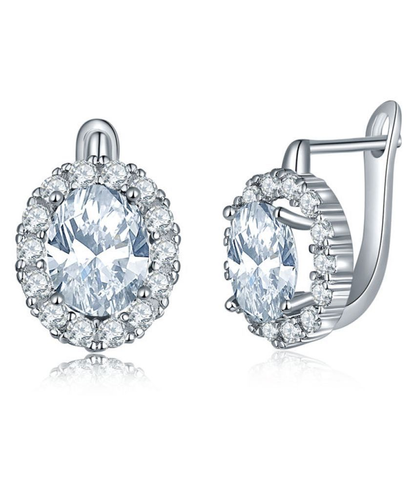 Jewels Galaxy Swarovski Elements Exclusive Luxuria Pure White Platinum Plated Earrings For Women & Girls
