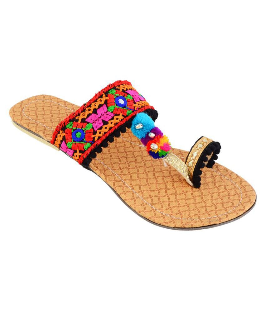 RAJWARI Multi Color Flat Flats