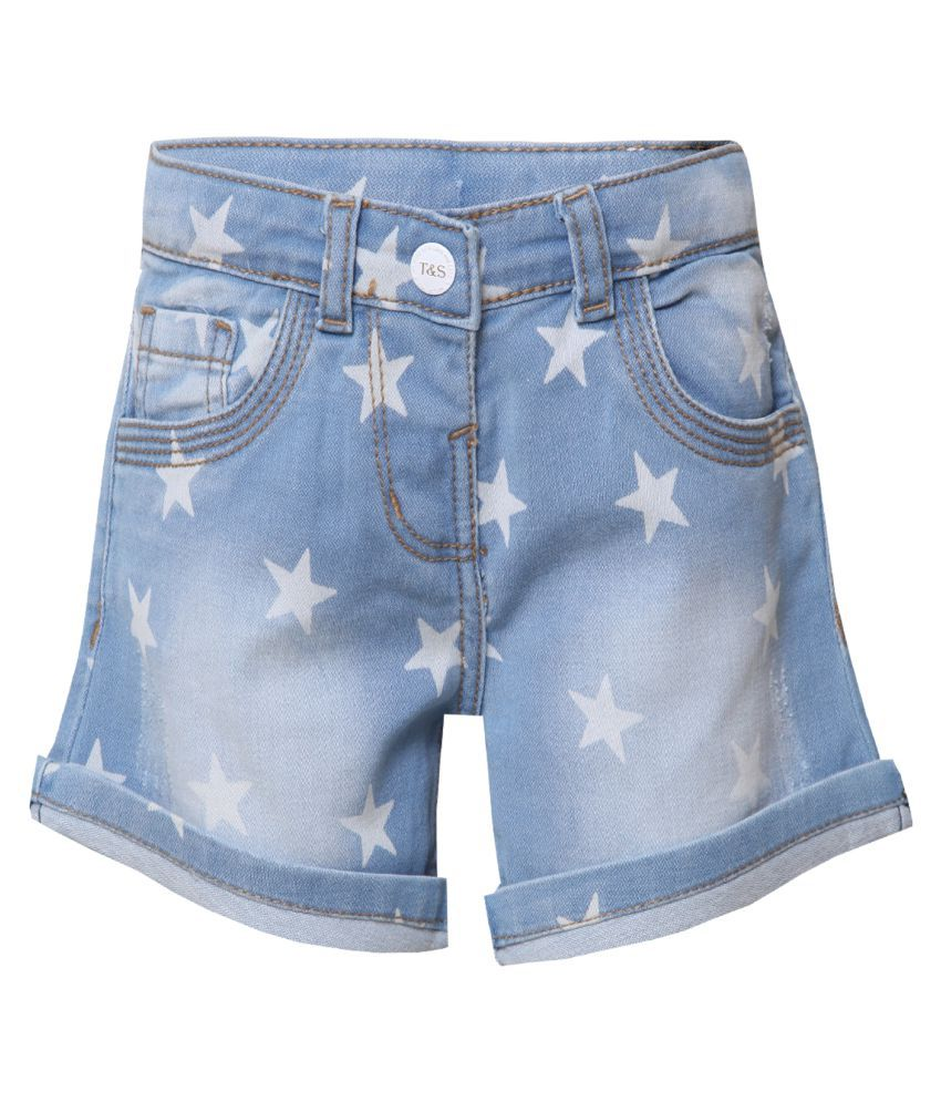 Tales & Stories Girls Denim Light Blue Shorts