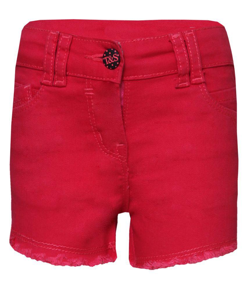 Tales & Stories Girls Denim Pink Shorts