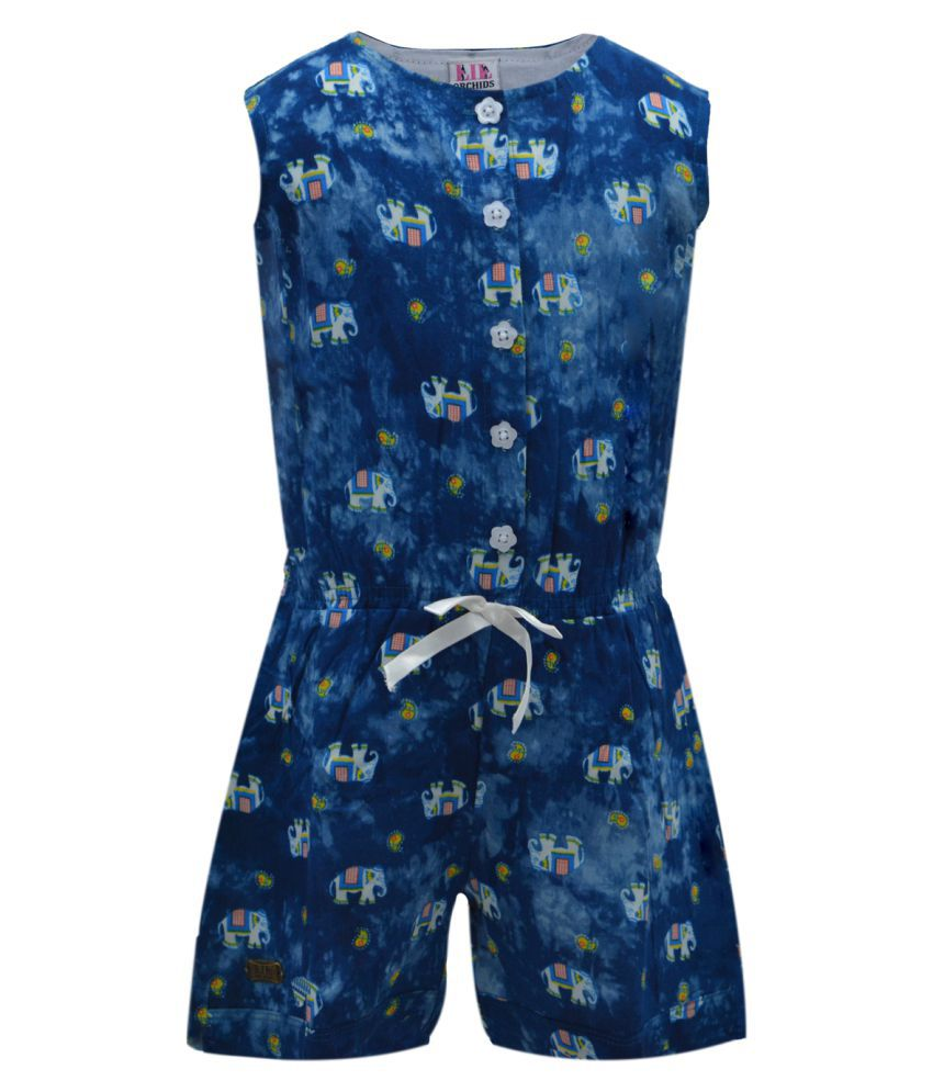 2c0baedb7a19 Lil Orchids Girls Casual Printed Blue Rayon Jumpsuit available at SnapDeal  for Rs.427