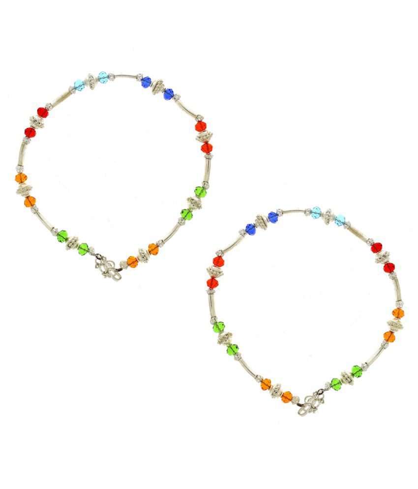 Anuradha Art Silver Colour Styled With Multi Colour Beads Traditional Anklet/Payal For Women