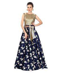 Greenvilla Designs Blue Crepe Anarkali Gown Semi-Stitched Suit