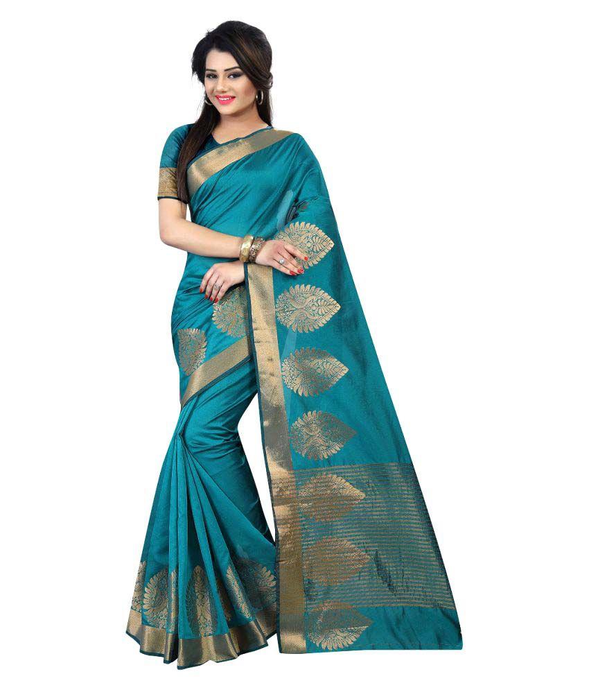 SILK ZONE Blue Cotton Silk Saree