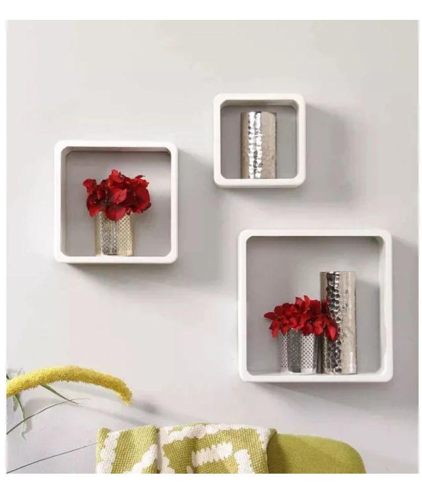 onlineshoppee floating shelves white pack of 3 buy. Black Bedroom Furniture Sets. Home Design Ideas