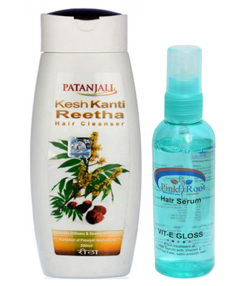 Patanjali KeshKanti Reetha Shampoo 200ml and Pink Root Hair Serum 100ml Pack of 2