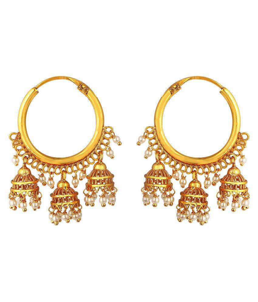 Spargz Festive Wear Brass Gold Plated Glossy Finish Chandbali Three Jhumka Hoop Earrings AIER 1045