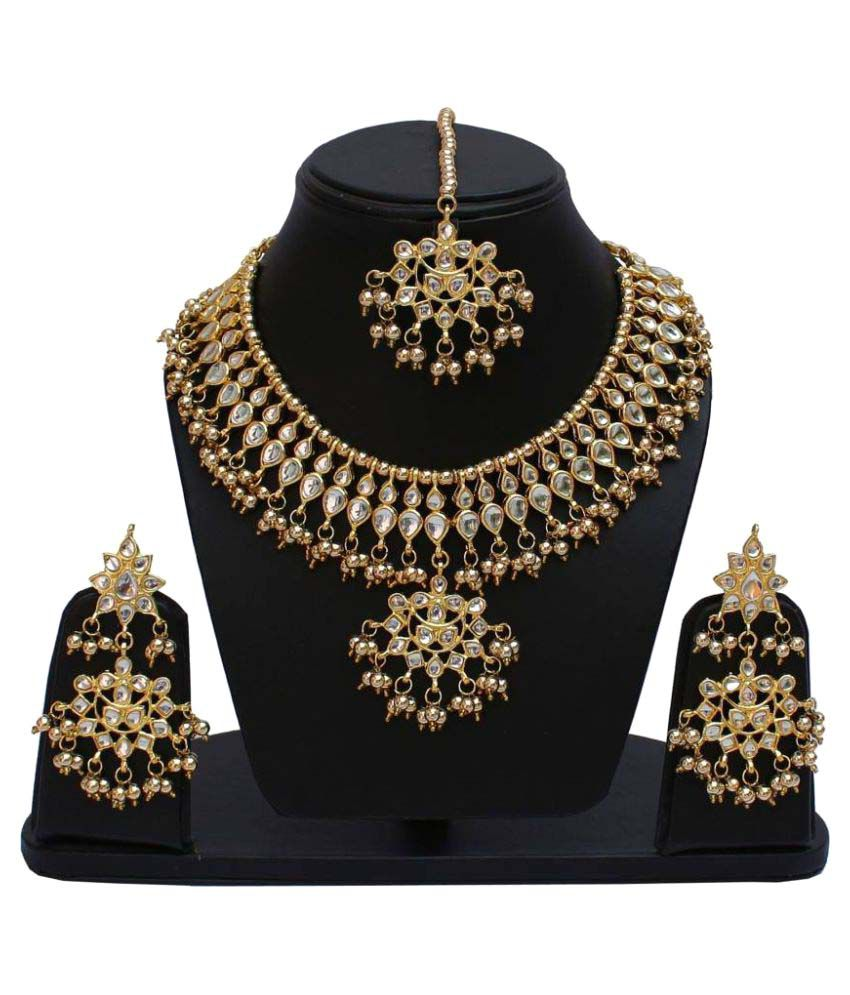 Jewels Gehna Alloy Enameled Pearls Contemporary Stylish Fancy Necklace Set For Women & Girls