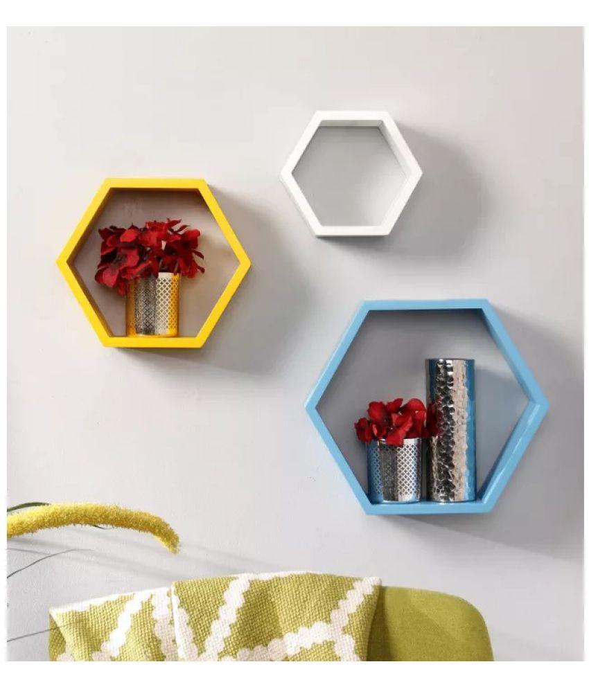 Onlineshoppee Floating Shelf/ Wall Shelf / Storage Shelf/ Decoration Shelf Multicolour - Pack of 3