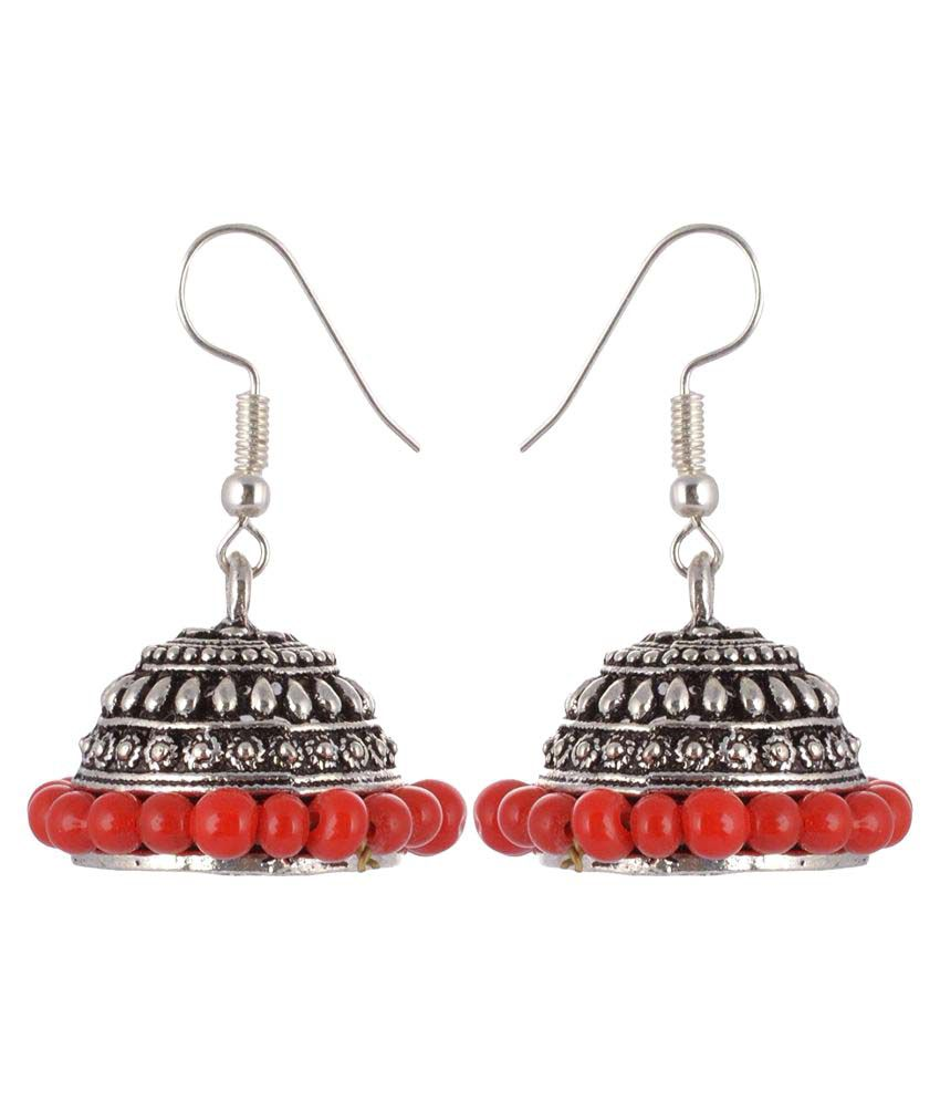 Archi Collection Oxidised Silver Plated Stylish Fancy Party Wear Jhumki German Silver Earrings Jewellery with Red Pearl Drops for Girls and Women