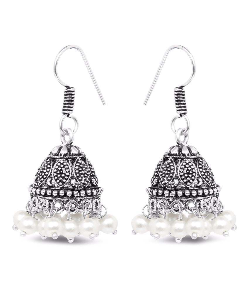 Archi Collection Oxidised Silver Plated Stylish Fancy Party Wear Jhumki German Silver Earrings Jewellery with White Pearl Drops for Girls and Women