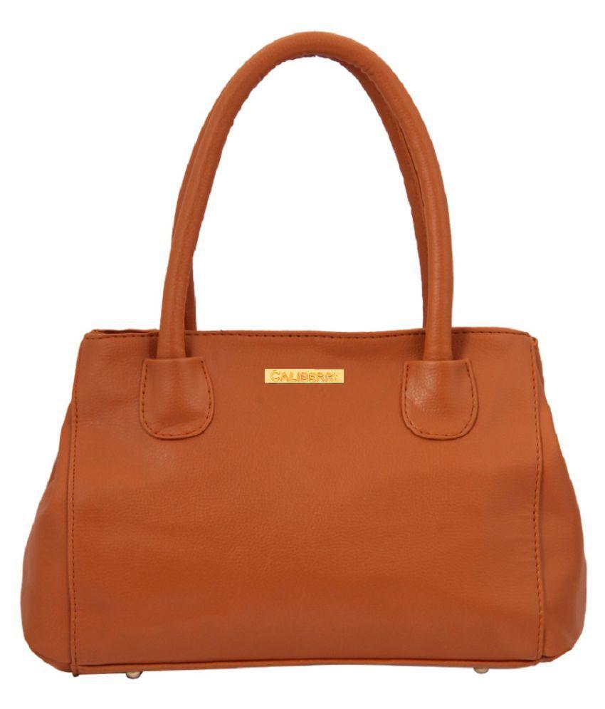 Caliberry Tan Faux Leather Shoulder Bag