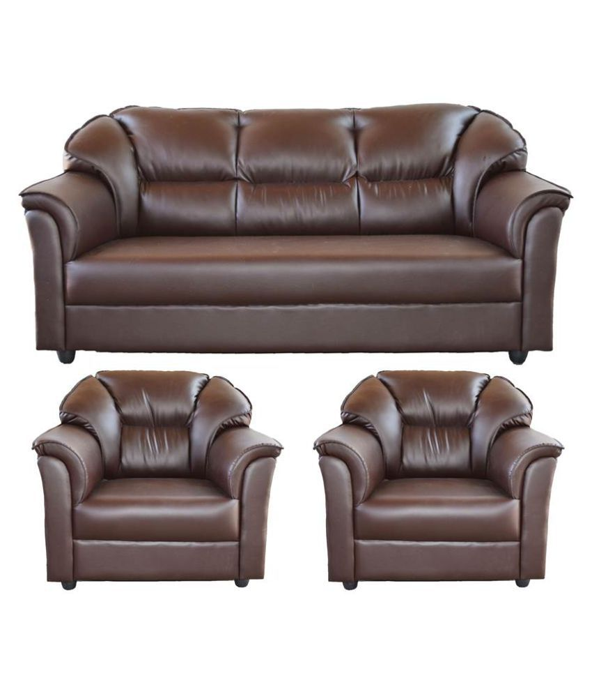Home Furniture Prices: Westido Manhattan 3+1+1 Sofa Set In Brown Leatherette