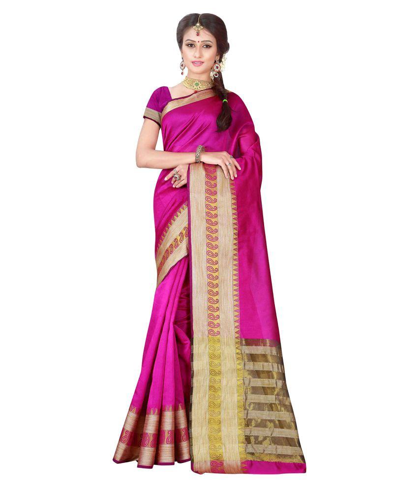 Monjolika Pink Banarasi Silk Saree