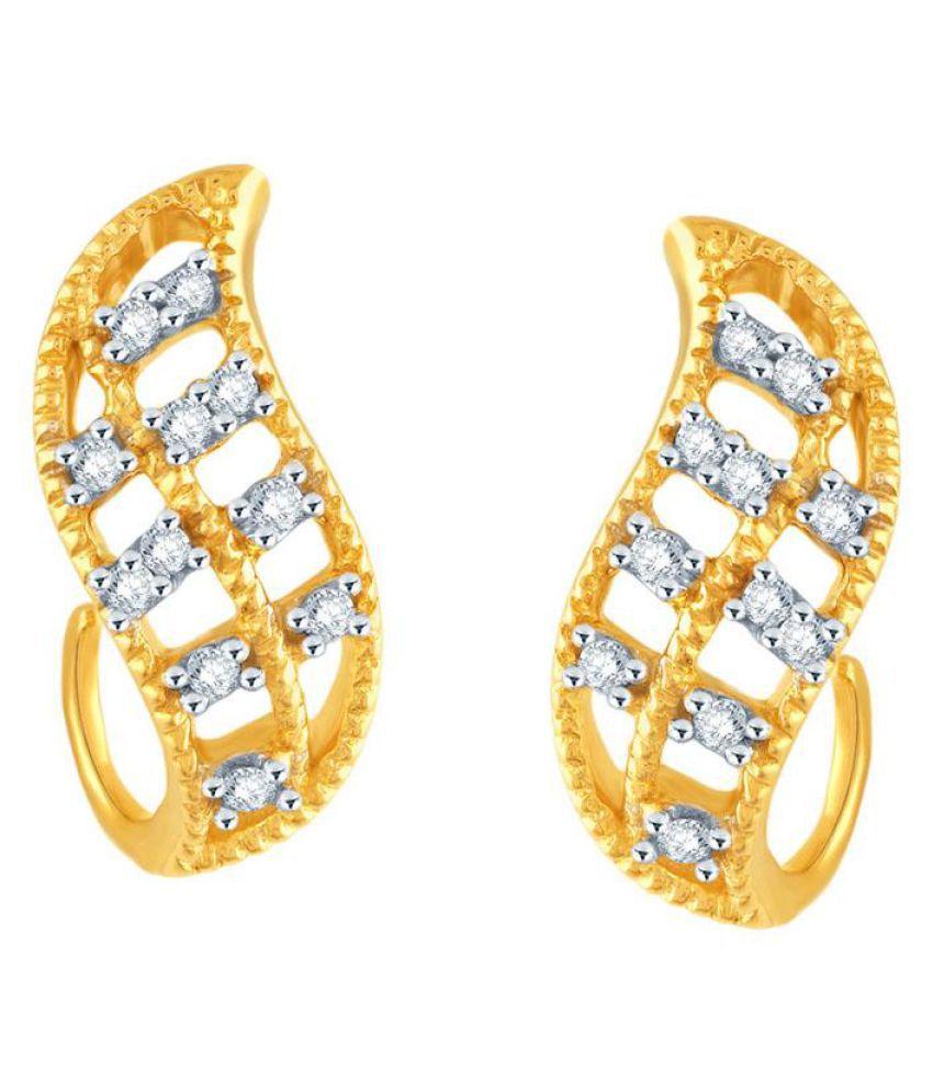 Asmi 18k BIS Hallmarked Yellow Gold Diamond Hoop