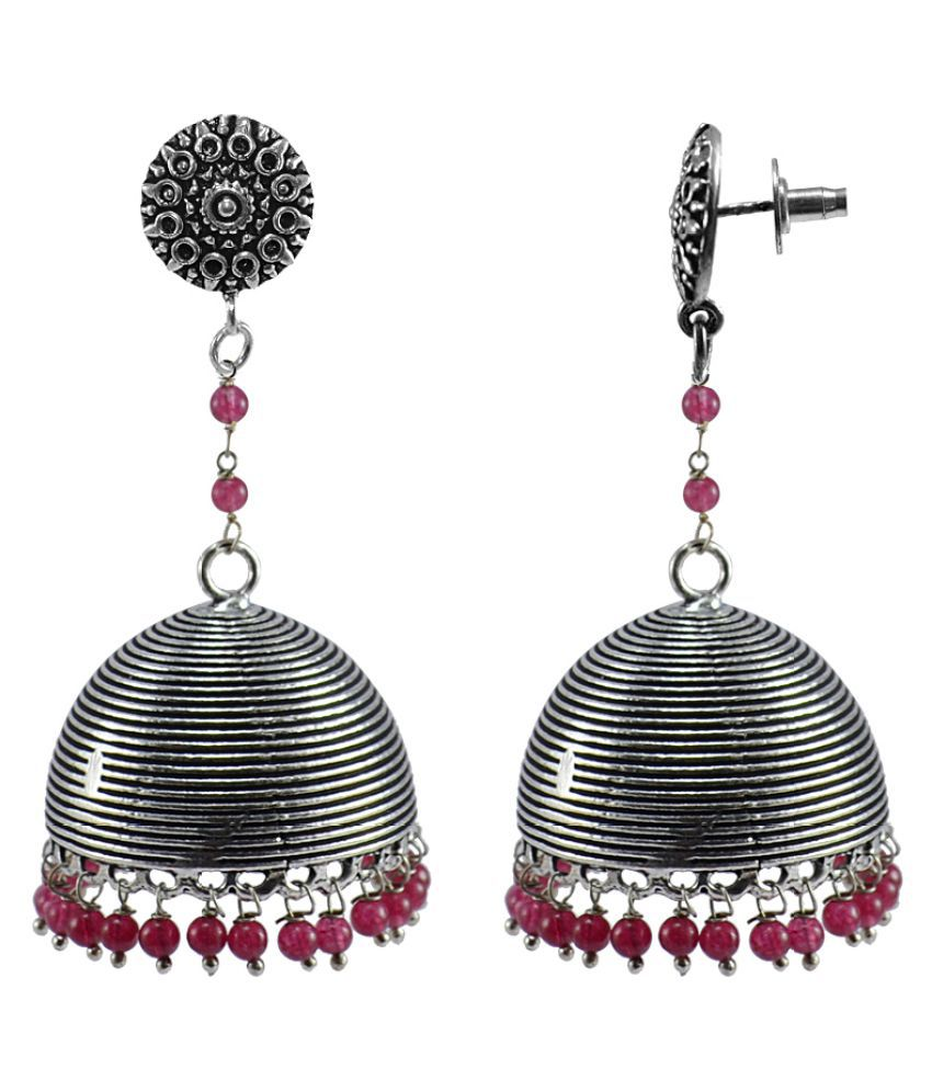 Silvesto India Ethnic Oxidized Jewellery-Danglers With Round Studs And Pink Beads Large Jhumka Earrings PG-110608