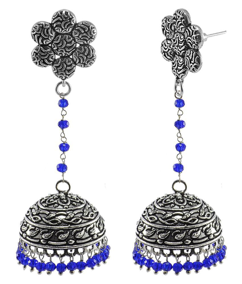 Flower Post Studs With Hanging Dome Shape Jhumki Earrings By Silvesto India PG-111051