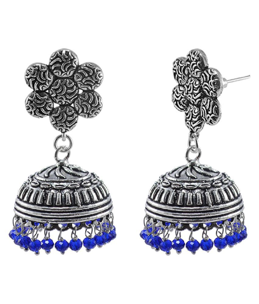 Silvesto India Elegant Handmade Dangle Flower Jhumki Earrings with Faceted Blue Crystal Beads PG-111255