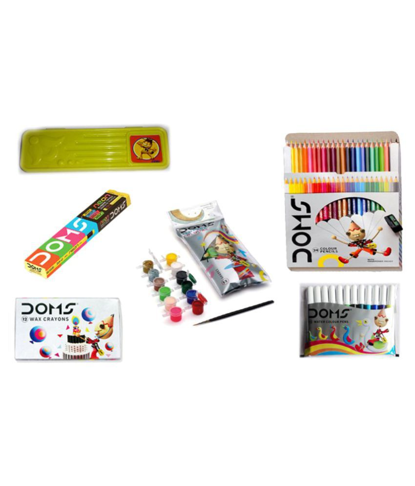 COMBO PACK OF DOMS NEON RUBBER TIPPED PENCIL + DOMS FULL SIZE 24 COLOUR PENCILS + DOMS 12 SKETCH PENS + DOMS 12 WAX CRAYONS + DOMS TEMPERA COLOURS 12 SHADES + 1 PENCIL BOX