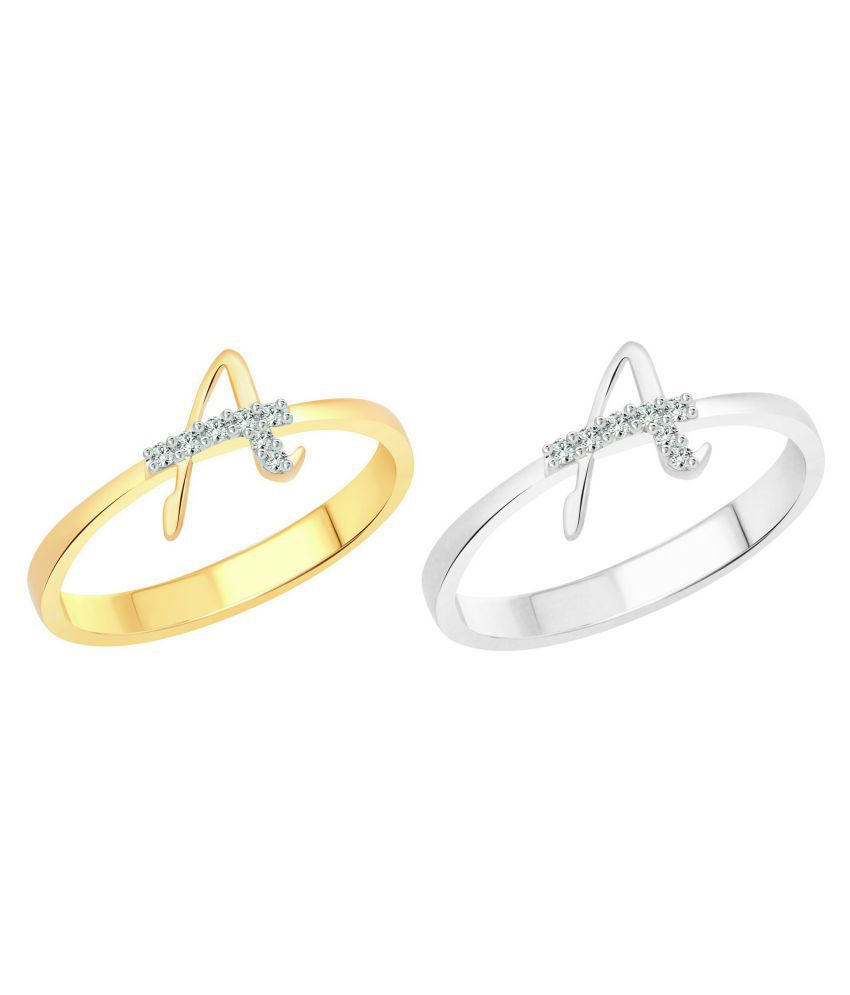 Vighnaharta Awesome ''A'' Letter Selfie (CZ) Gold and Rhodium Plated Alloy Combo Ring Set for Women and Girls- [VFJ1178FRSLF9]