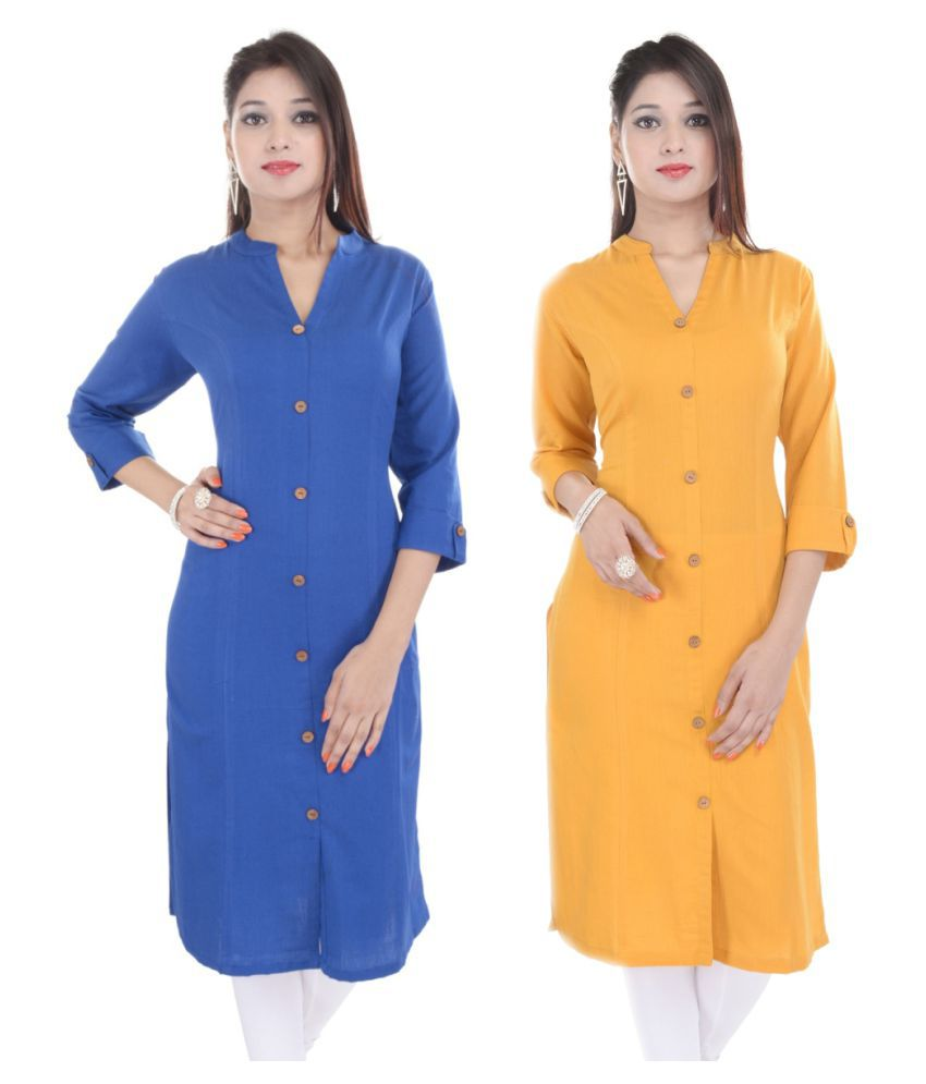 Fab Attire Multicoloured Cotton Straight Kurti