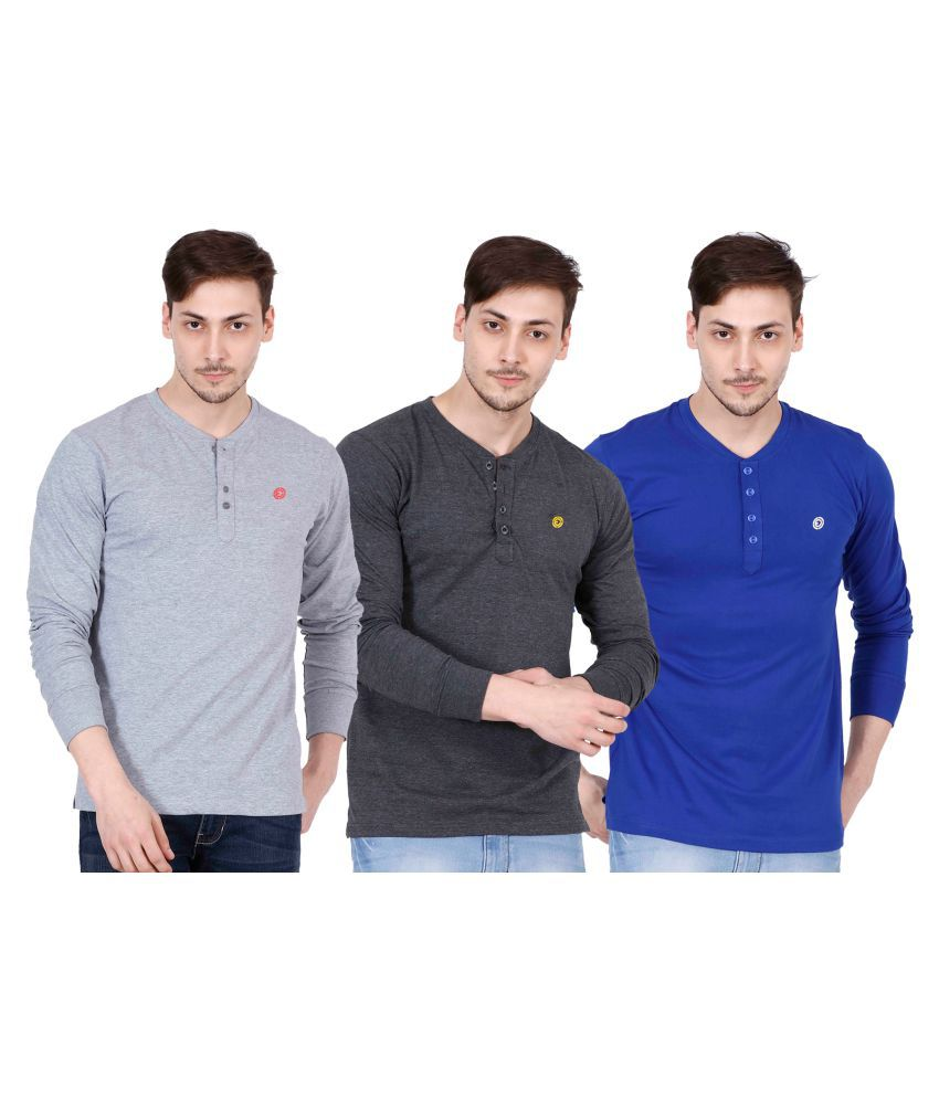 Ojass Multi Henley T-Shirt Pack of 3
