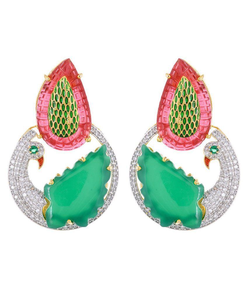 Designer Fancy Peacock Designer Colored Stone Earring For Women and Girls