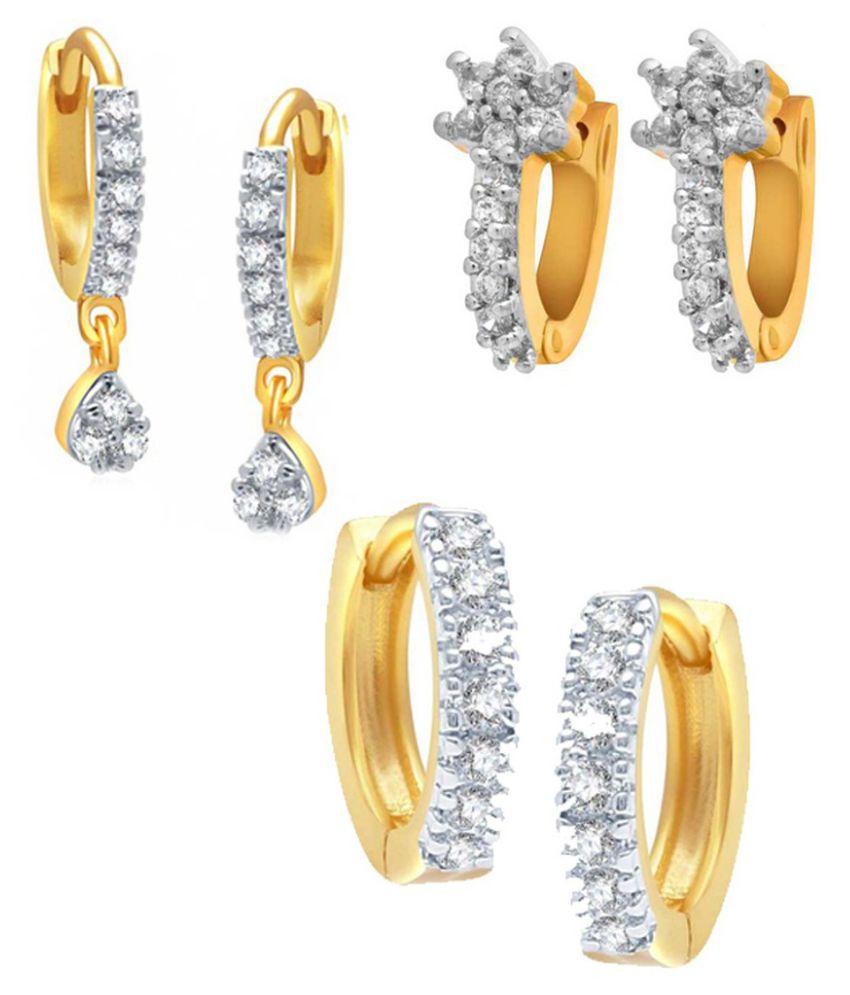 Penny Jewels Pleasant Simple Designer Enameled Diamond (Combo of 3) Earrings Set For Women & Girls