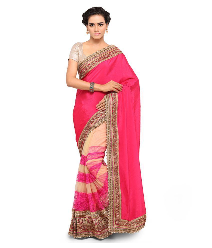 Fashion Storey Pink Georgette Saree