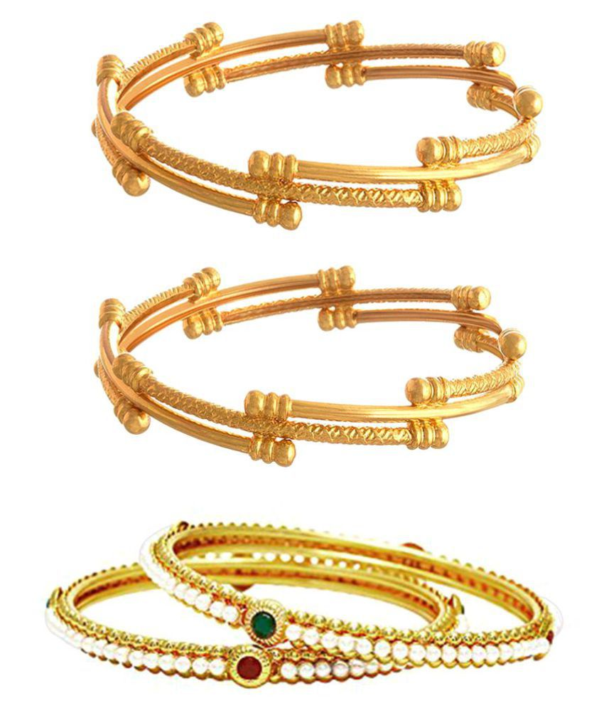 Aarav  Classic Gold Plated Bangle combo set
