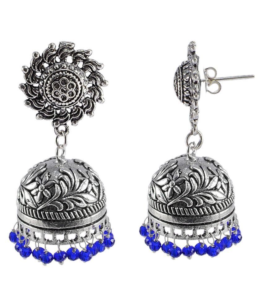 Silvesto India Elegant Handmade Dangle Surya Jhumki Earrings with Faceted Blue Crystal Beads PG-108855